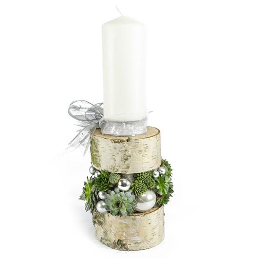 Poctivý vánoční svícen z březového kmene 5