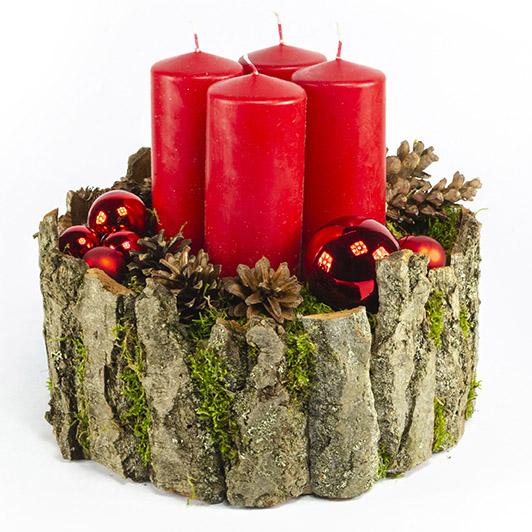 Luxusní adventní svícen s červenými svíčkami 3