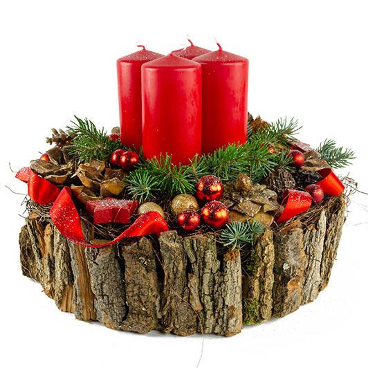 Luxusní adventní svícen s exotickými plody a červenými svíčkami 5