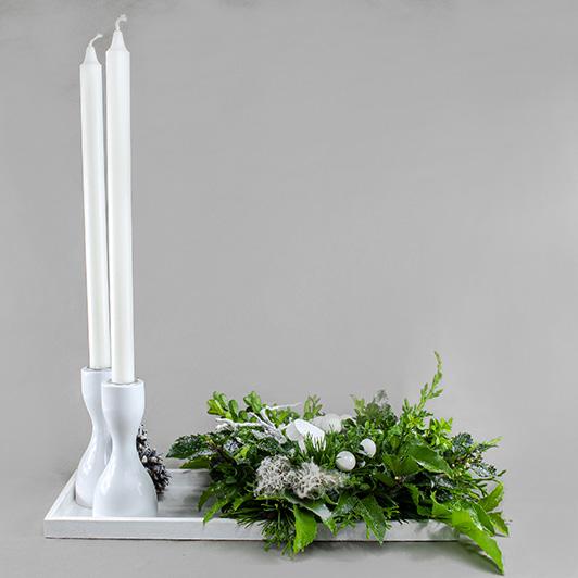 Stylový štědrovečerní bílo stříbrný svícen 2