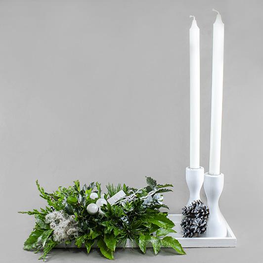 Stylový štědrovečerní bílo stříbrný svícen 4