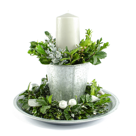 Třpytivý stříbrný vánoční/ štědrovečerní svícen 4
