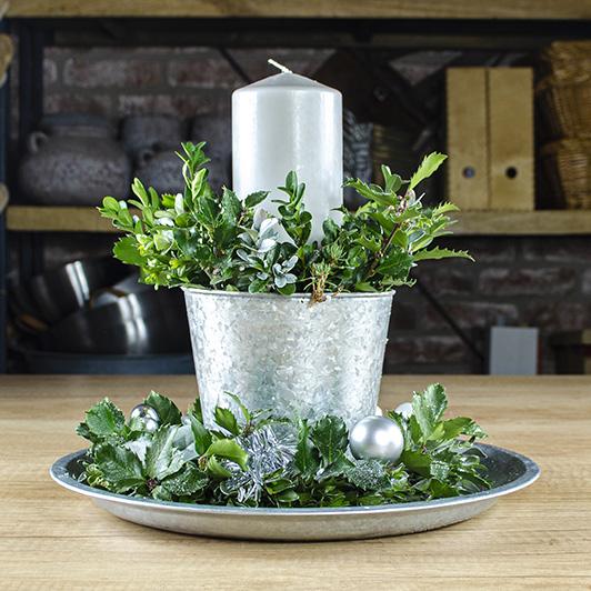 Třpytivý stříbrný vánoční/ štědrovečerní svícen