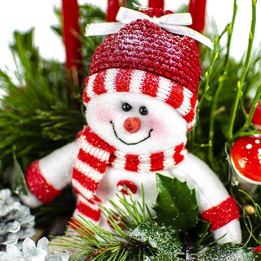 Adventní svícen s roztomilým sněhuláčkem 4