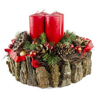 Luxusní adventní svícen s exotickými plody a červenými svíčkami